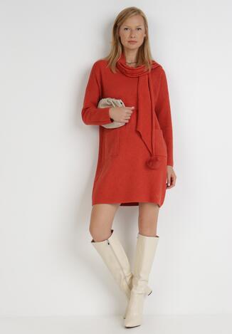 Czerwona Sukienka Z Szalikiem Enelous