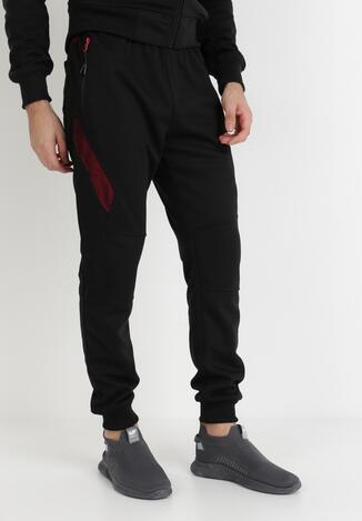 Czarno-Czerwone Spodnie Dresowe Hekeis