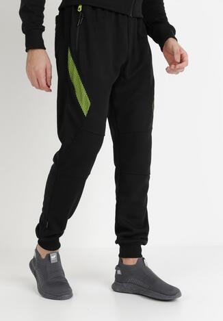 Czarno-Zielone Spodnie Dresowe Hekeis