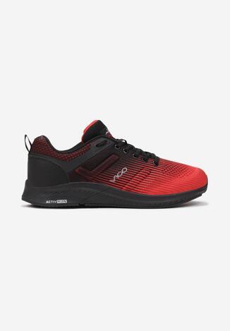 Czerwono-Czarne Buty Sportowe Agano