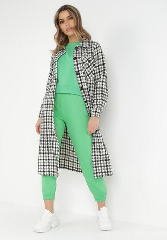 Czarno-Biały Płaszcz Z Wełną Hypsene