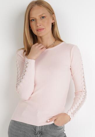 Jasnoróżowy Sweter Polyphe
