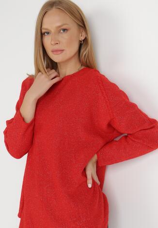 Czerwony Sweter Z Wełną Kasosa