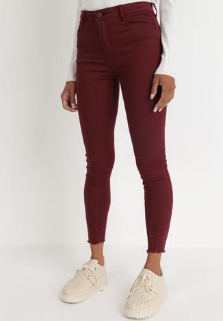 Bordowe Spodnie Skinny Ganolio