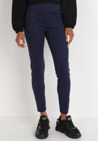 Granatowe Spodnie Skinny Althelaia