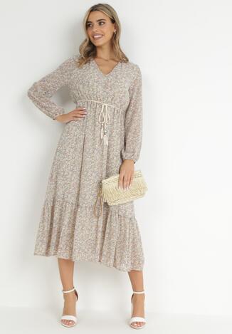 Jasnobeżowa Sukienka Demassa