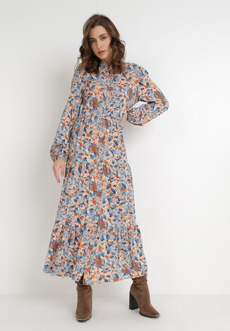 Niebiesko-Pomarańczowa Sukienka Barbeira