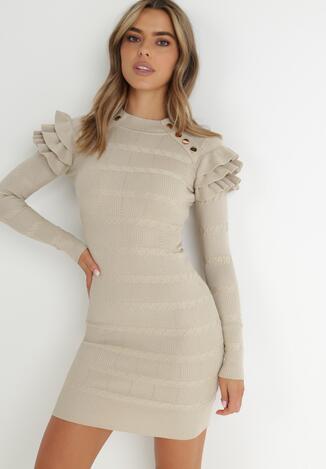 Jasnobeżowa Sukienka Dzianinowa Chionane