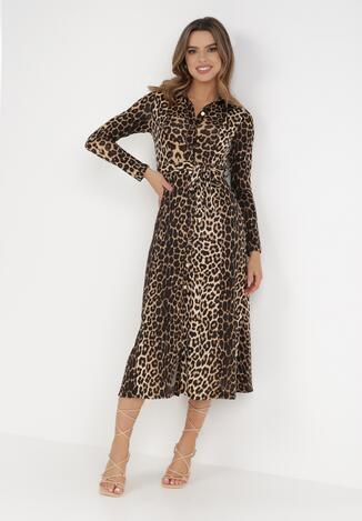 Czarno-Beżowa Sukienka Anastyle