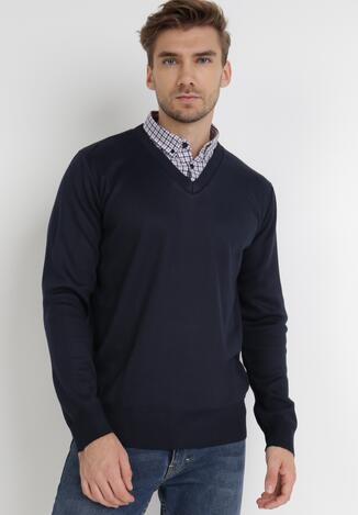 Granatowy Sweter Z Wełną Phylasia