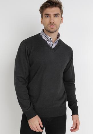 Ciemnoszary Sweter Z Wełną Phylasia