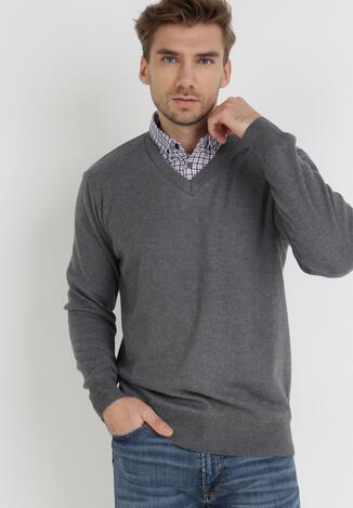Szary Sweter Z Wełną Phylasia