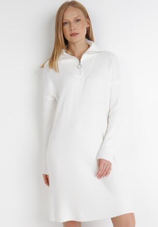 Biała Sukienka Dzianinowa Iomene