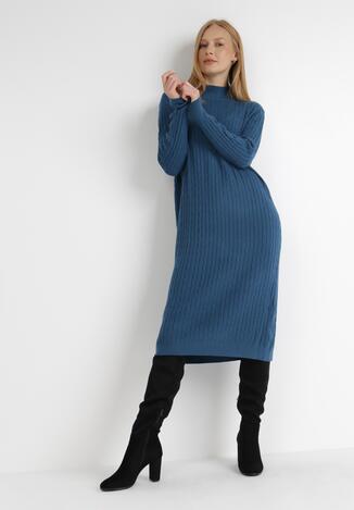 Ciemnoniebieska Sukienka Dzianinowa Caeippe