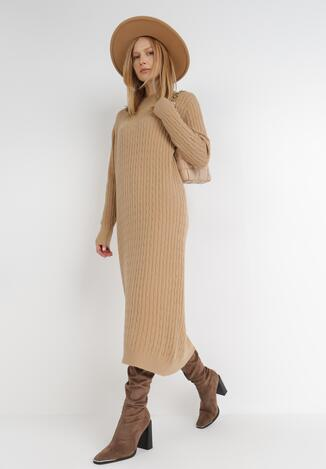 Ciemnobeżowa Sukienka Dzianinowa Caeippe