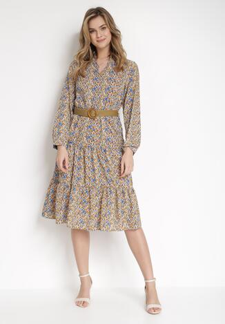 Beżowa Sukienka Z Paskiem Noroe