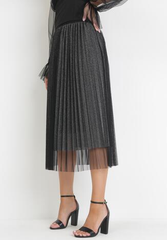 Czarno-Srebrna Spódnica Xirophis