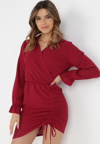 Bordowa Sukienka Saviphis