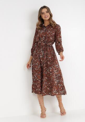 Brązowa Sukienka Spiteteeth