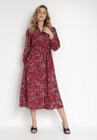Bordowo-Czarna Sukienka Spiteteeth