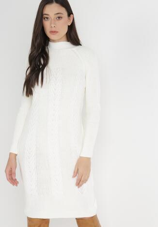 Biała Sukienka Dzianinowa Avone