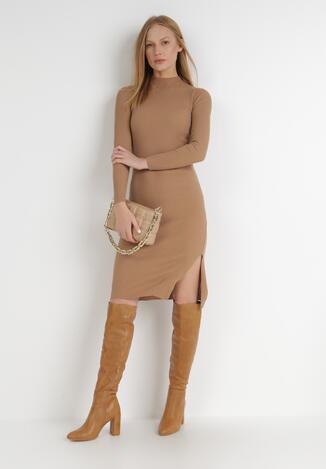 Ciemnobeżowa Sukienka Deriara