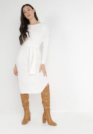 Biała Sukienka Dzianinowa Laerasha