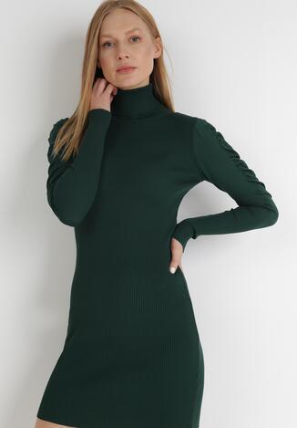 Ciemnozielona Sukienka Dzianinowa Nephasis