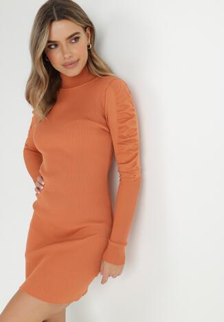 Pomarańczowa Sukienka Dzianinowa Nephasis