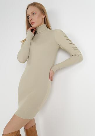 Jasnobeżowa Sukienka Dzianinowa Nephasis