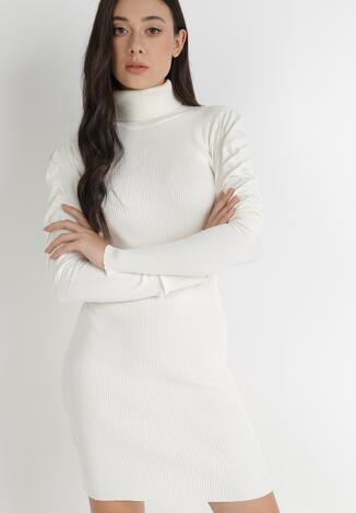 Biała Sukienka Dzianinowa Nephasis