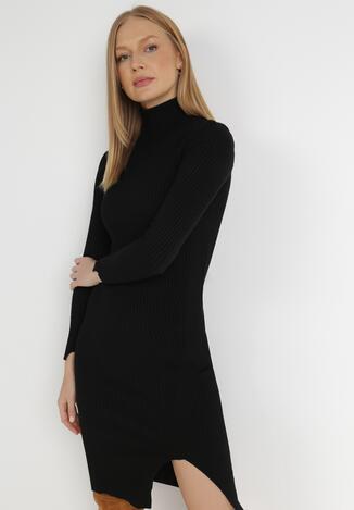 Czarna Sukienka Dzianinowa Florasha