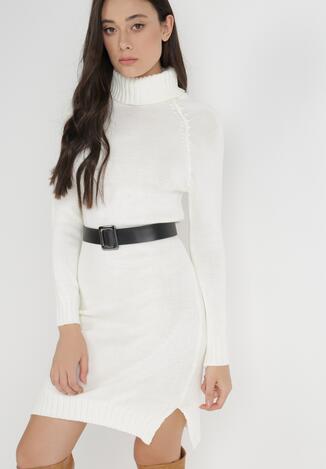 Biała Sukienka Dzianinowa Z Paskiem Thelaphe