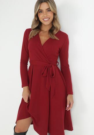 Bordowa Sukienka Therinore