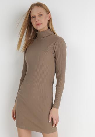 Ciemnobeżowa Sukienka Dzianinowa Nerane