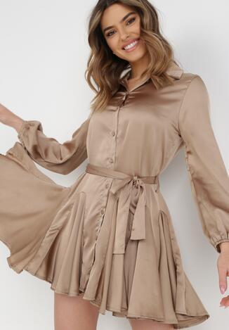 Ciemnobeżowa Sukienka Godena