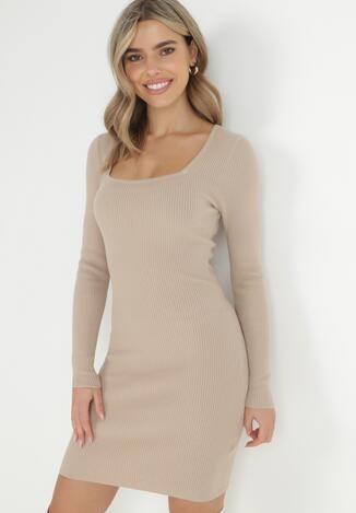 Beżowa Sukienka Dzianinowa Uemaphine