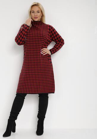 Czerwona Sukienka Dzianinowa Amathoreia