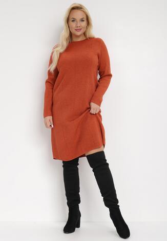 Pomarańczowa Sukienka Dzianinowa Anastassa