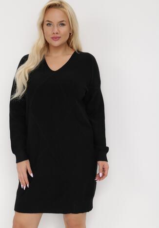 Czarna Sukienka Dzianinowa Chlorythia