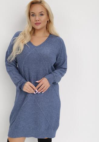 Niebieska Sukienka Dzianinowa Chlorythia
