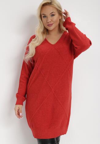 Czerwona Sukienka Dzianinowa Chlorythia