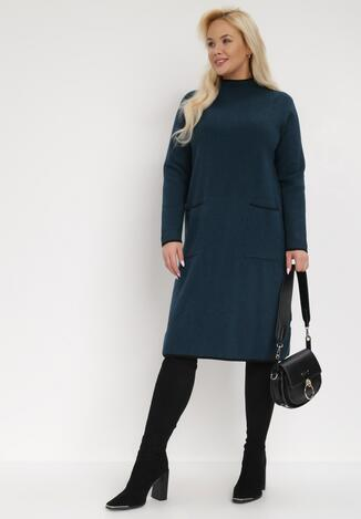 Granatowa Sukienka Dzianinowa Tyleano