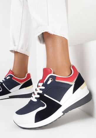 Granatowo-Białe Sneakersy Casteila