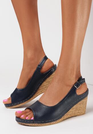 Granatowe Sandały Alethreasi