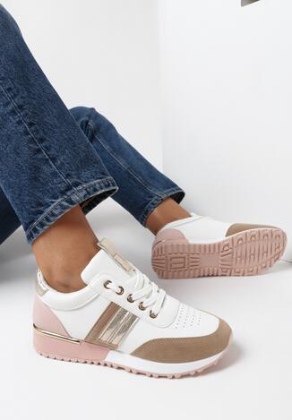 Biało-Beżowe Buty Sportowe Bennettia