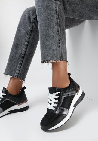 Czarne Sneakersy Mesora