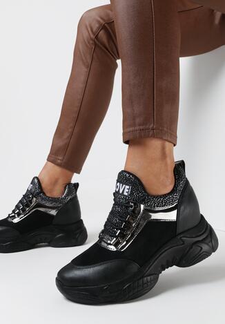 Czarno-Srebrne Sneakersy Olleris