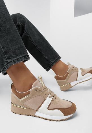Beżowe Buty Sportowe Roseris