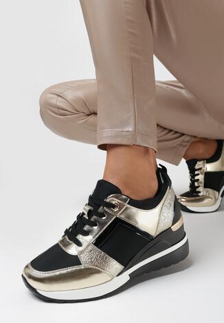 Czarno-Złote Sneakersy Caliara